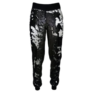 Double-Sided Sequined Black Faux Leather Track Pants-Contemporary Fashion-Sustainable Fashion-Ethical Designer-Contemporaryfashion.com