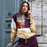 Gold Garnished Sweatshirt With Abstract Digital Print-Contemporary Fashion-Sustainable Fashion-Ethical Designer-Contemporaryfashion.com