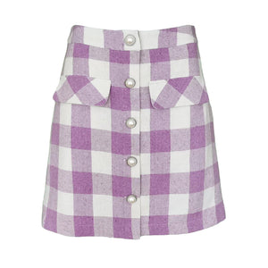 Lilac Tartan A-Line Mini Skirt-Contemporary Fashion-Sustainable Fashion-Ethical Designer-Contemporaryfashion.com