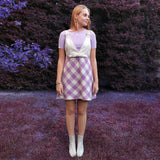Lilac Tartan Mini Gilet Dress With Vegan Leather Top-Contemporary Fashion-Sustainable Fashion-Ethical Designer-Contemporaryfashion.com