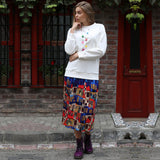 Multi-Color Pleated Maxi Skirt With House Pattern-Contemporary Fashion-Sustainable Fashion-Ethical Designer-Contemporaryfashion.com