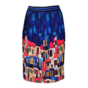 Multi-Color Pleated Midi Skirt With House Pattern-Contemporary Fashion-Sustainable Fashion-Ethical Designer-Contemporaryfashion.com