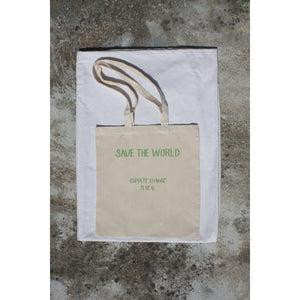 TOTE BAG SAVE THE WORLD-Contemporary Fashion-Sustainable Fashion-Ethical Designer-Contemporaryfashion.com