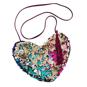 Upcycled Multicolor Sequin Heart Crossbody Bag-Contemporary Fashion-Sustainable Fashion-Ethical Designer-Contemporaryfashion.com