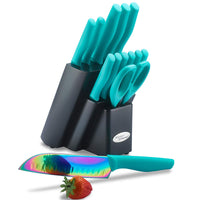 Marco Almond®14 pcs Turquoise Rainbow kitchen Knives Set—KYA27