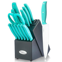 Marco Almond®14 pcs Turquoise kitchen Knives Set—KYA24