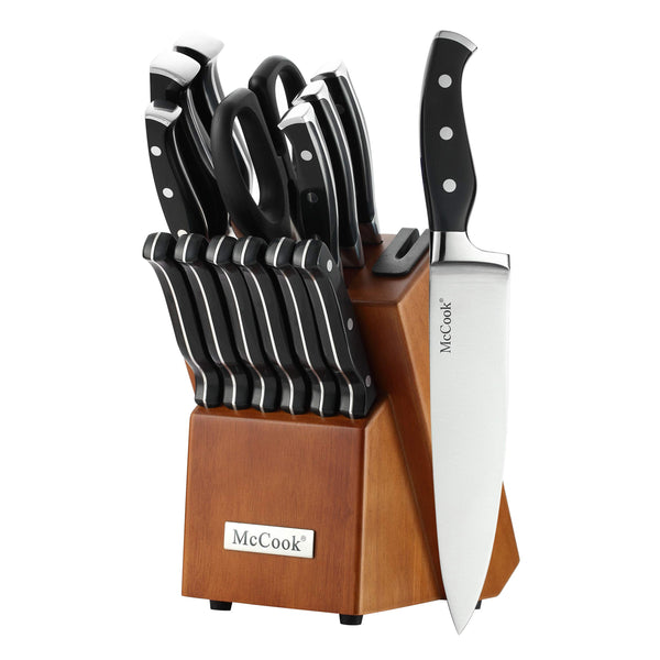 McCook®15 pcs German Stainless Steel Knives Set(Built-in Sharpener)-MC23