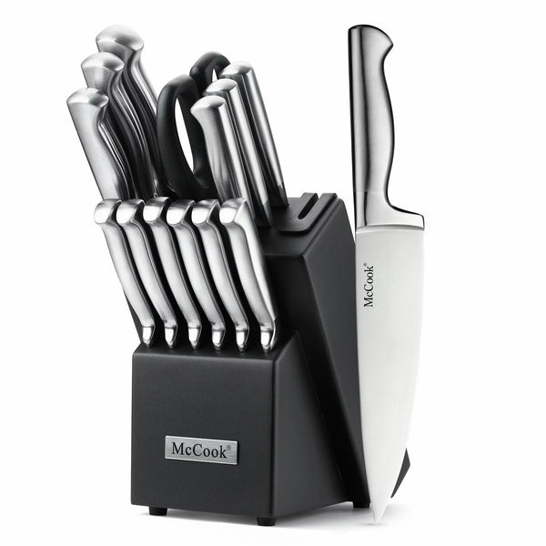 McCook®15 pcs Stainless Steel Handle Knife Set, Block with Built-in Sharpener (Black Block)—MC21