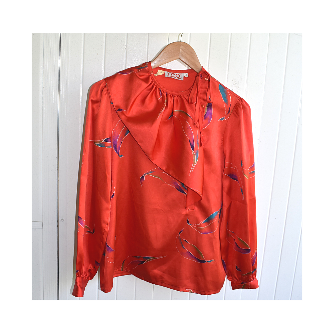Silky Red Patterned Blouse