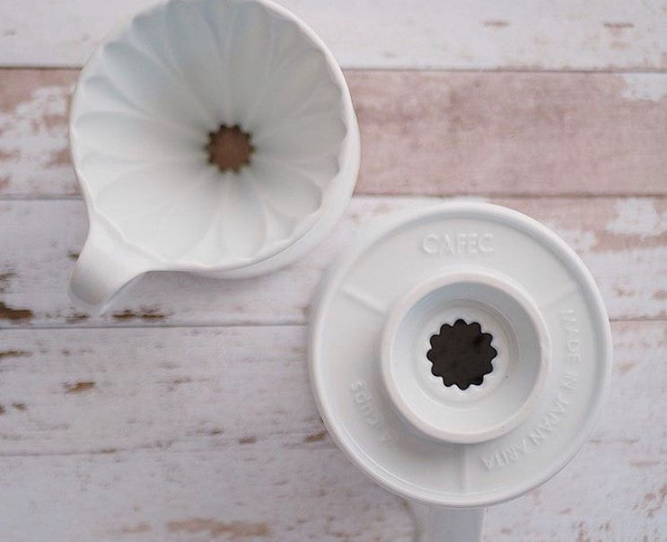 CAFEC Flower Dripper CFD-4 WHITE Cup4 (for 2~4 cups)