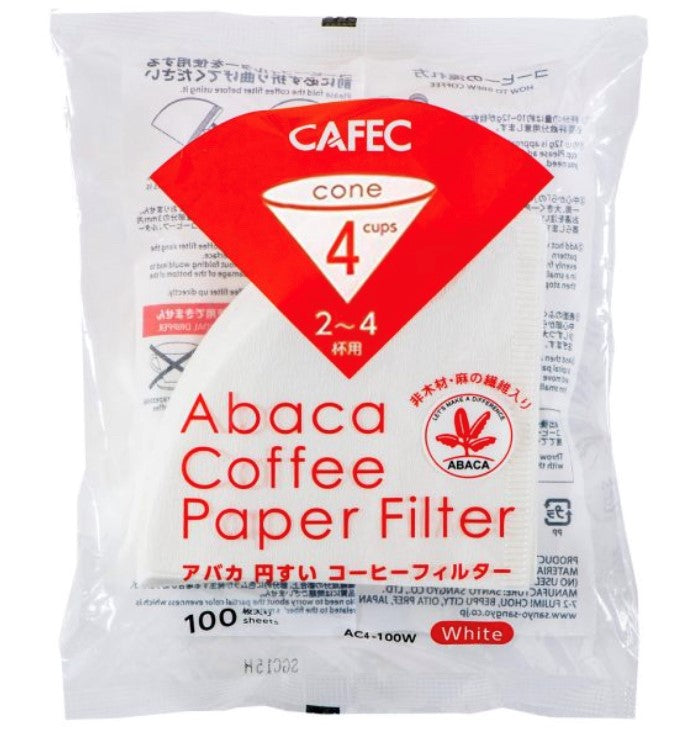 CAFEC Abaca filter paper (white) Cup4 (for 2-4 cups) AC4-100W ក្រដាស់តម្រងកាហ្វេ