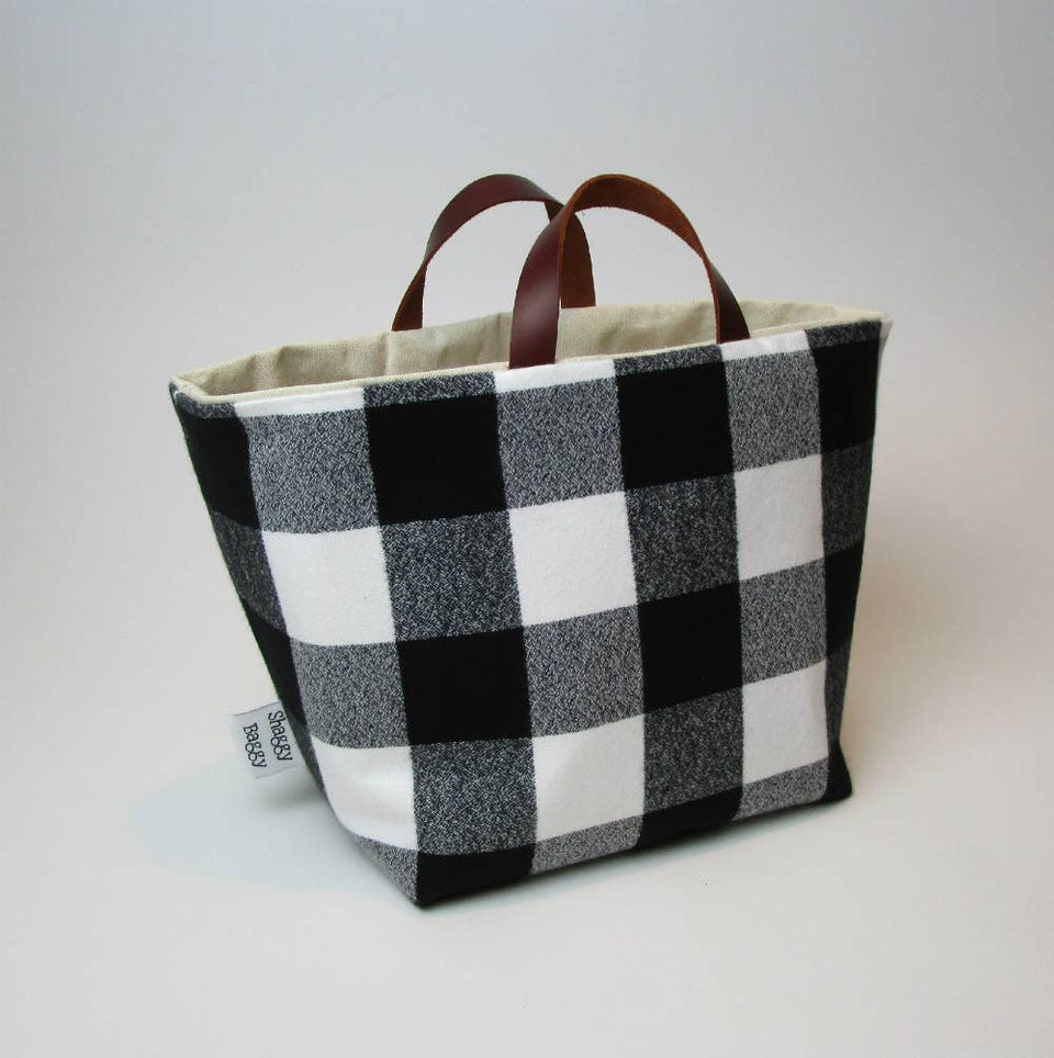 Large storage bucket, black and white buffalo plaid flannel