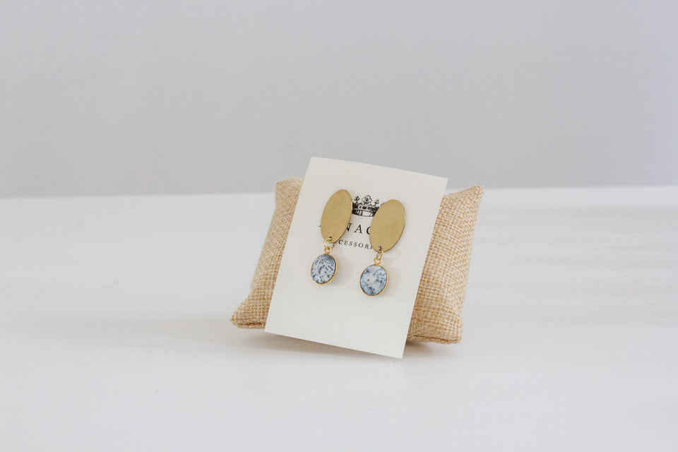Oval Shaped Gold Studs with Marble Dangles