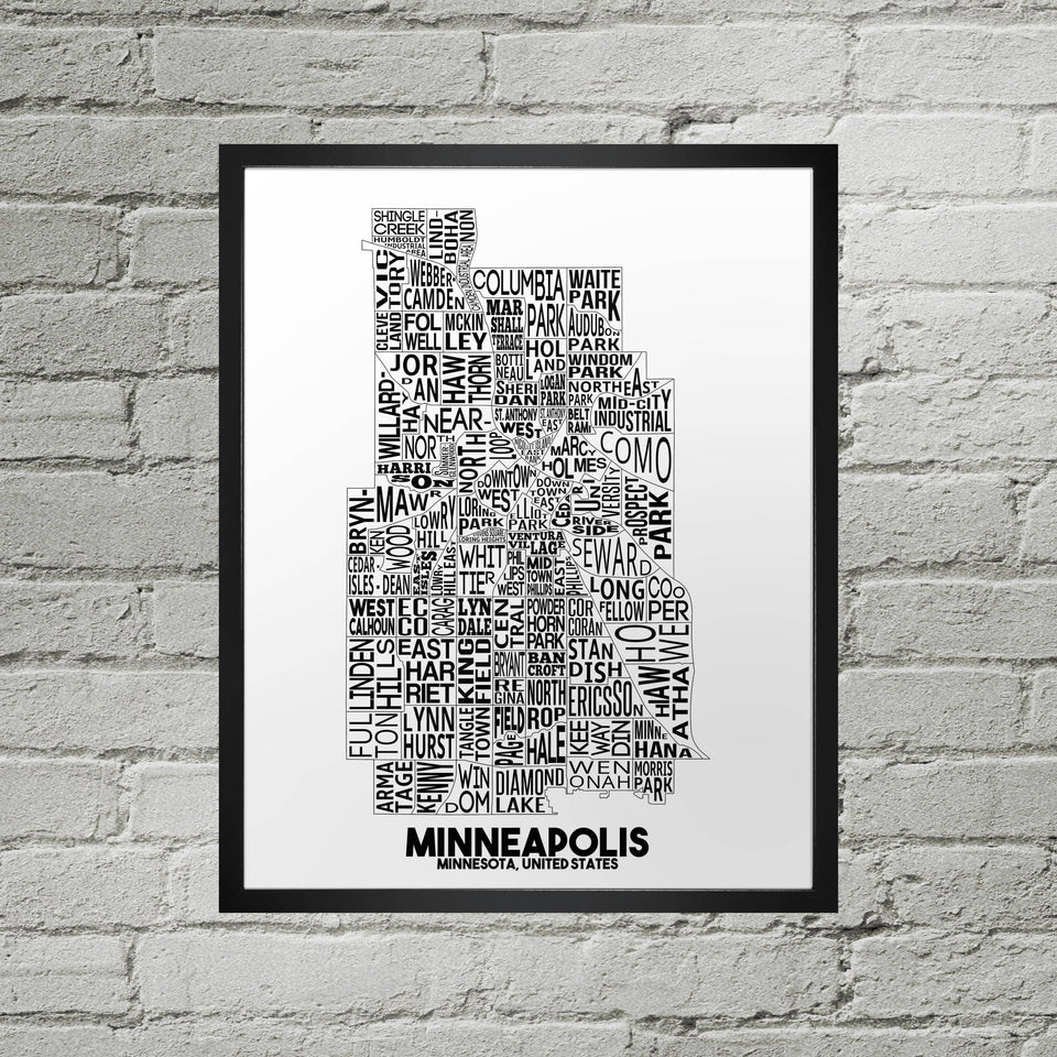 "Minneapolis Neighborhood Typographic Map Print 11"" x 14"""