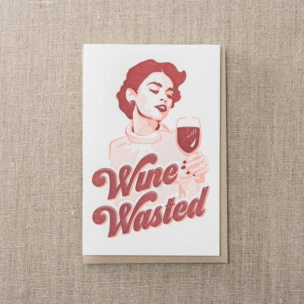 Wine Wasted Greeting Card