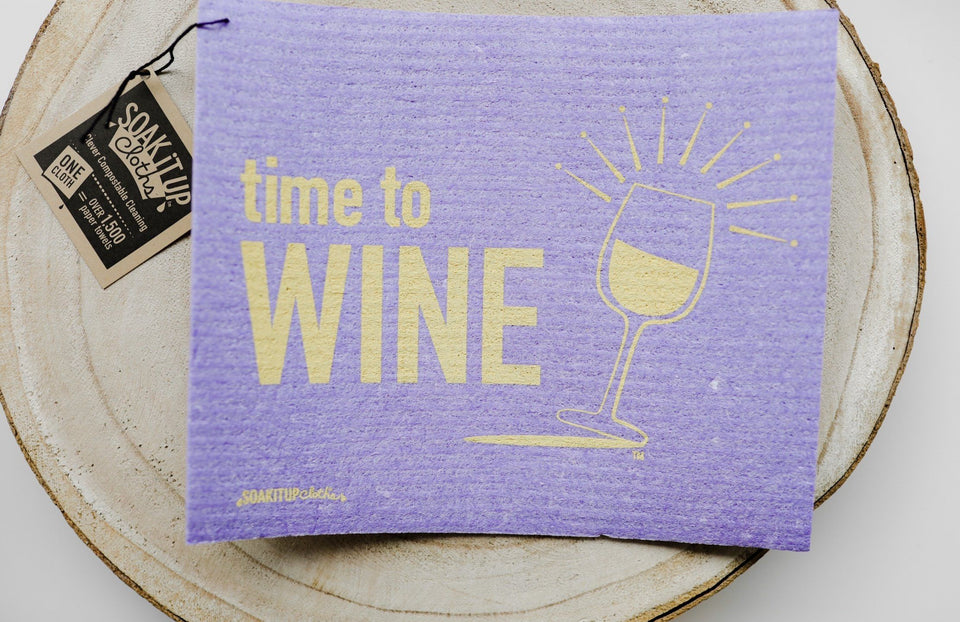 Time to Wine White Dishcloth