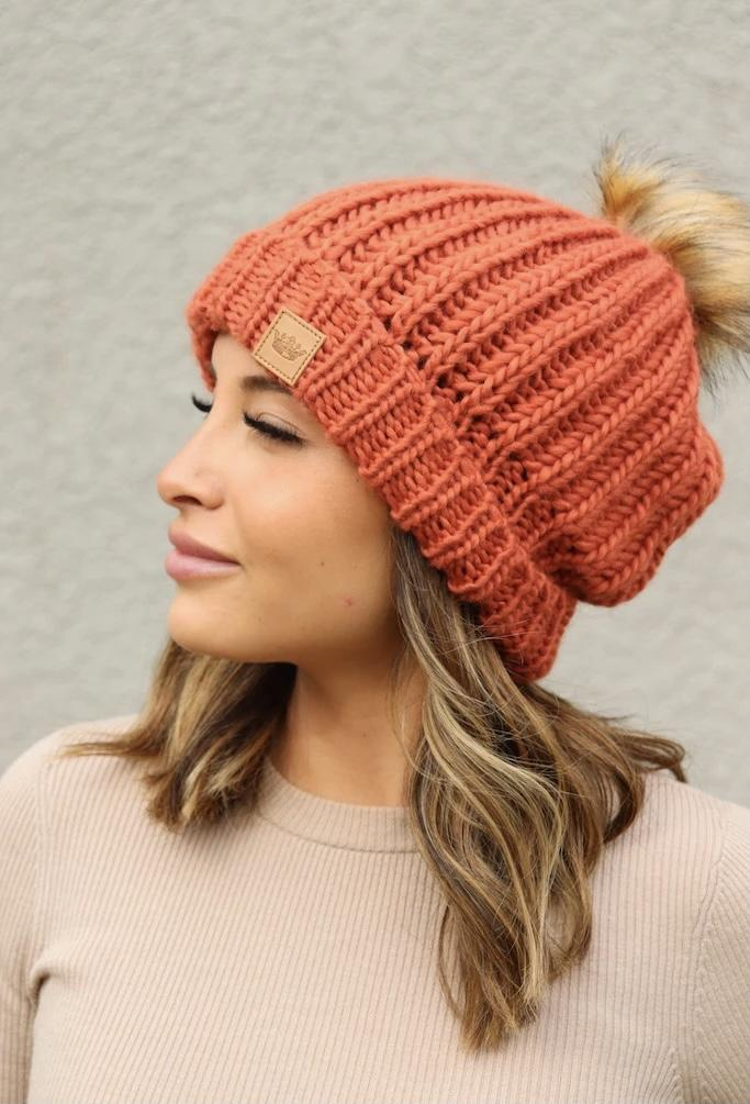 Orange Fleece Lined Knit Hat