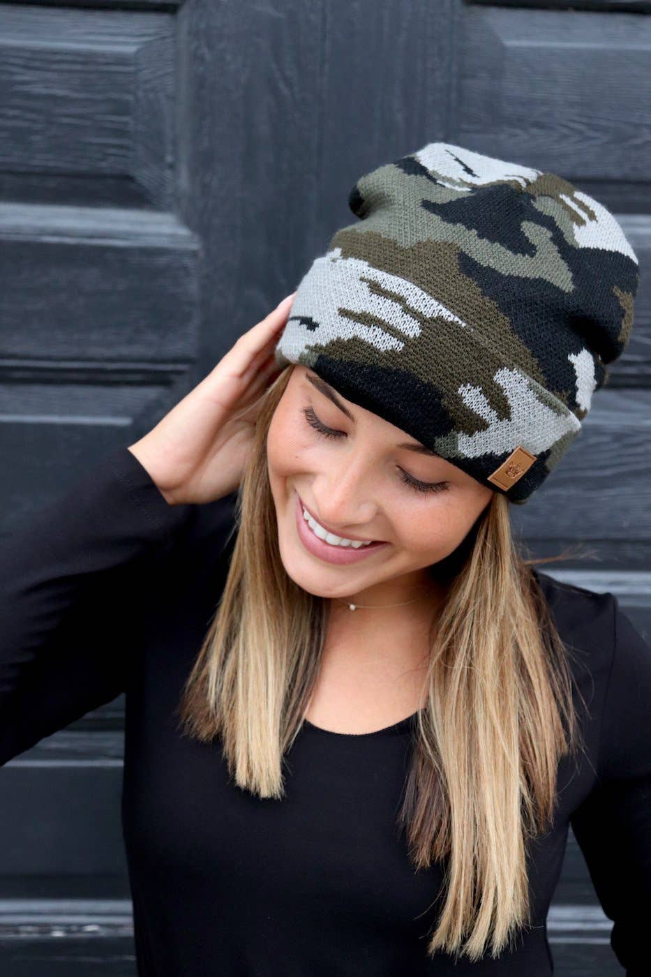 Green Camo Fleece-Lined Beanie