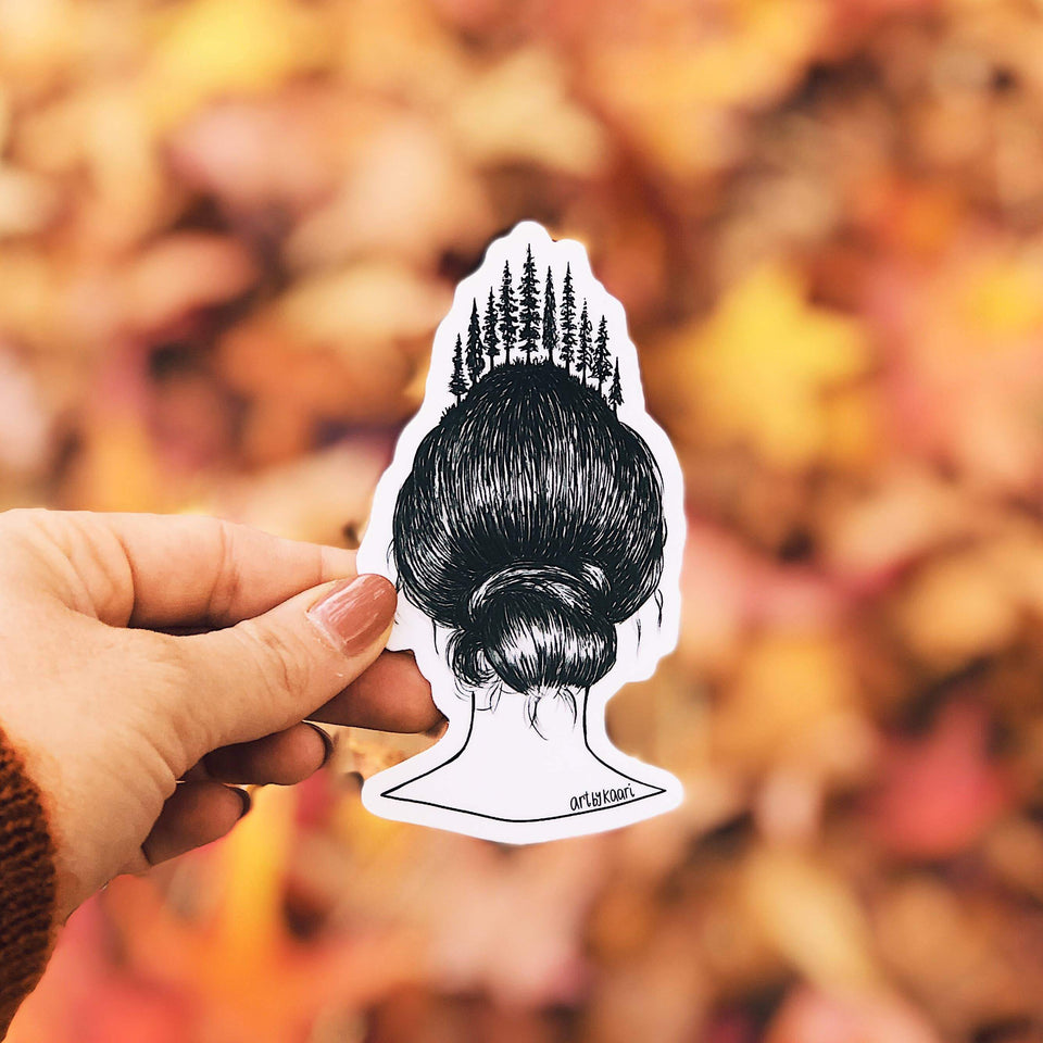 Forested Hair Vinyl Sticker