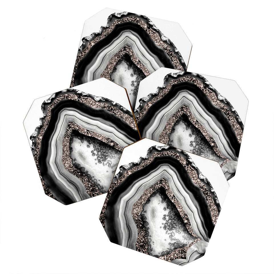Agate Rose Gold Glam 4 Coaster Set