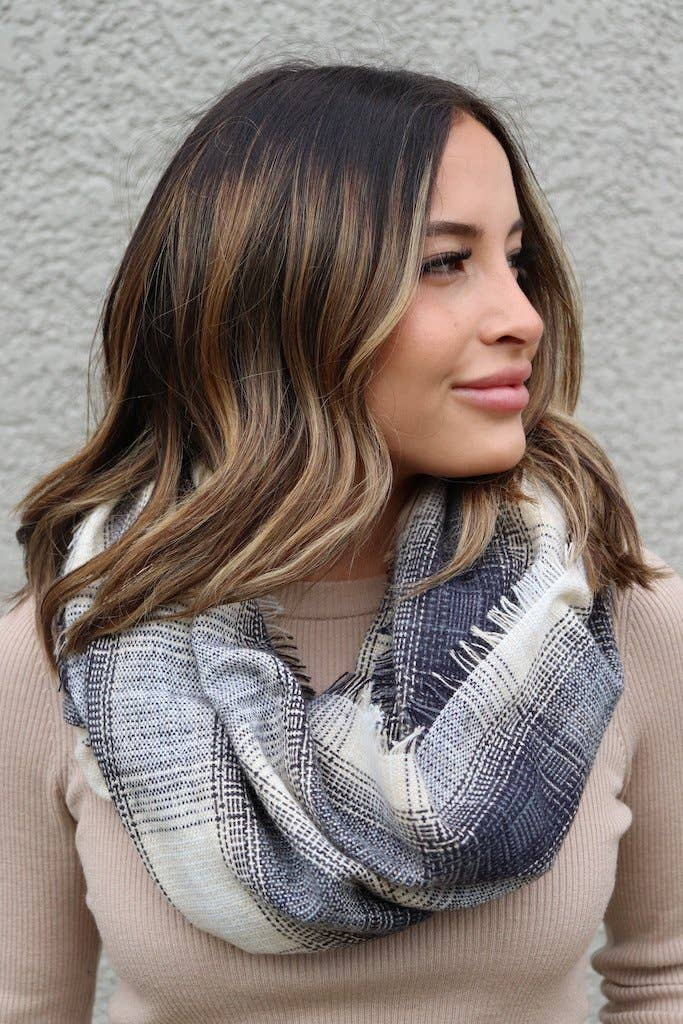 Tan & Grey Plaid Infinity Scarf