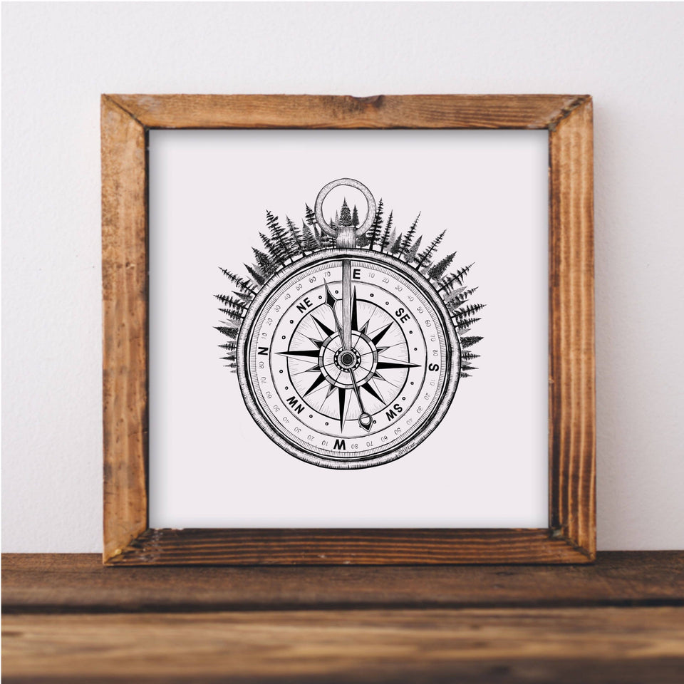 Forested Compass Art Print