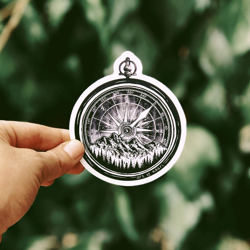 Mountain Compass Vinyl Sticker