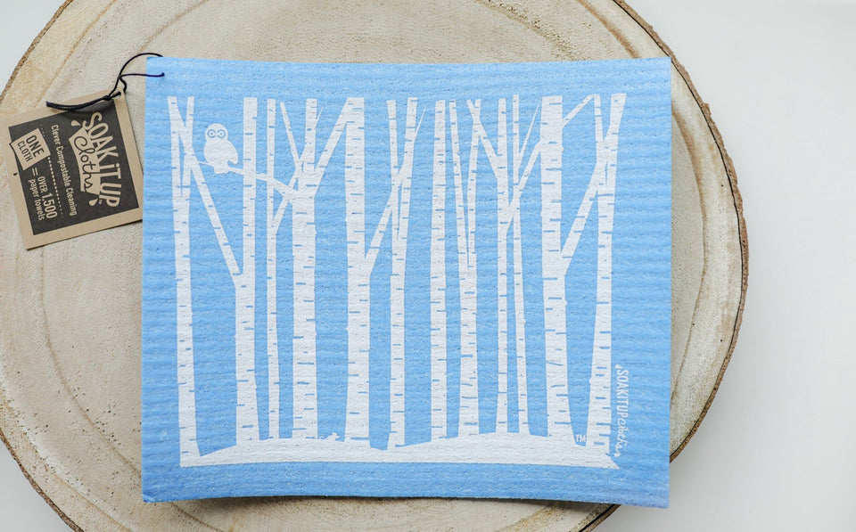 Snowy White and Birch Blue Dishcloth