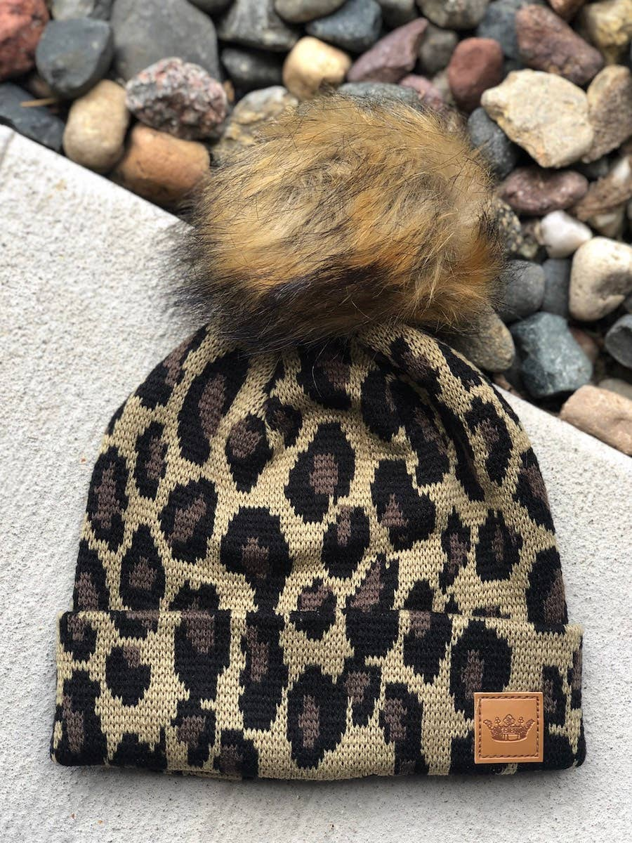 Leopard Print Kids Hat with Pom
