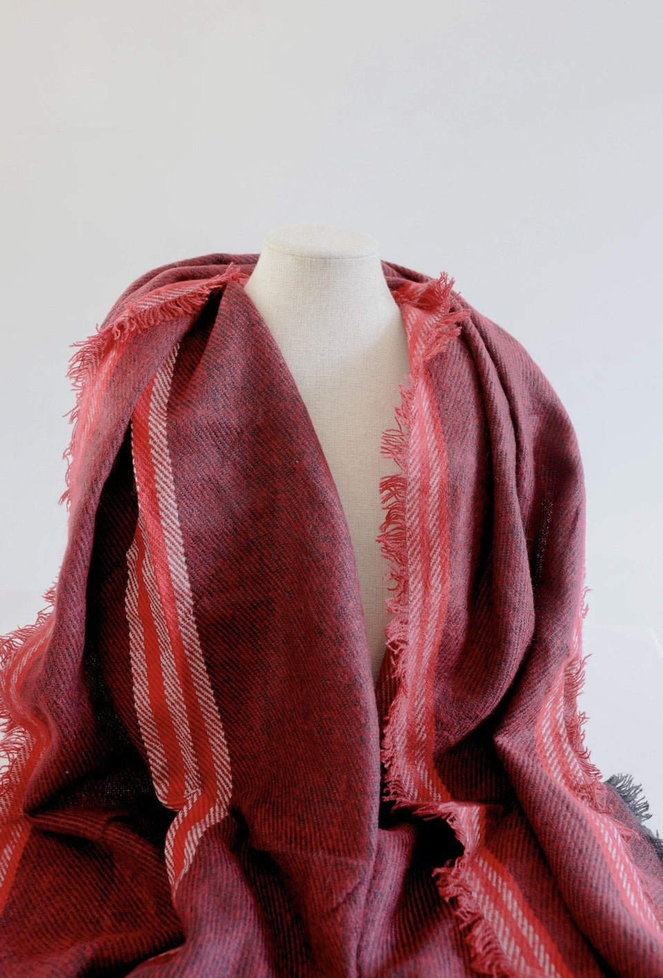 Red & Striped Blanket Scarf