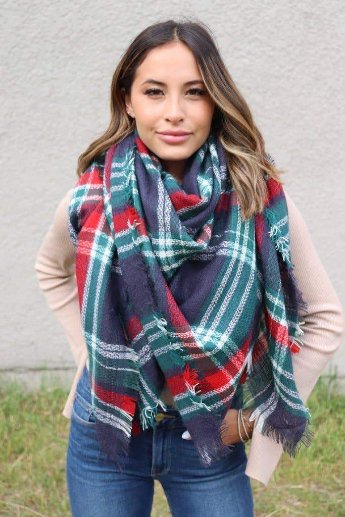 Navy & Green Plaid Blanket Scarf