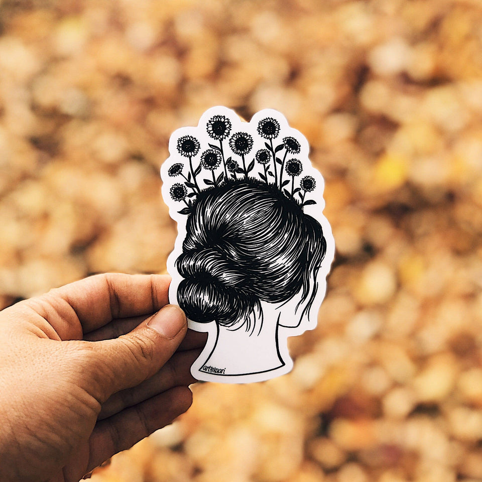 Sunflower Hair Vinyl Sticker