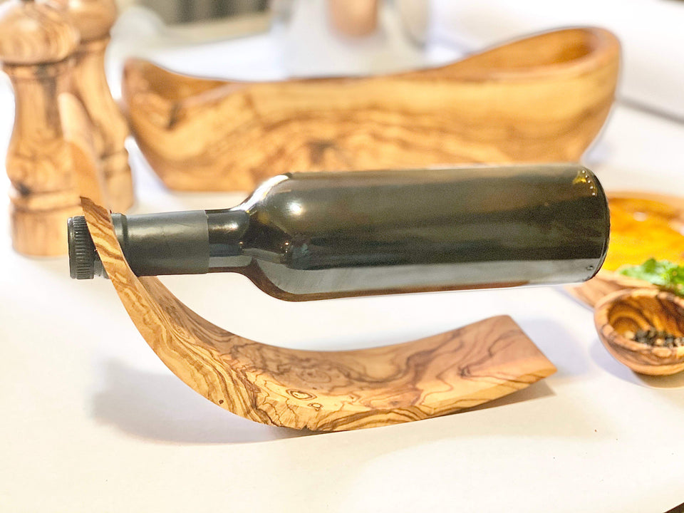 Natural OliveWood - Crescent Bottle Holder