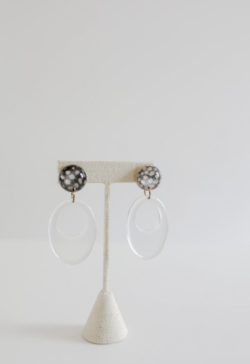Animal Print & Clear Dangle Earrings