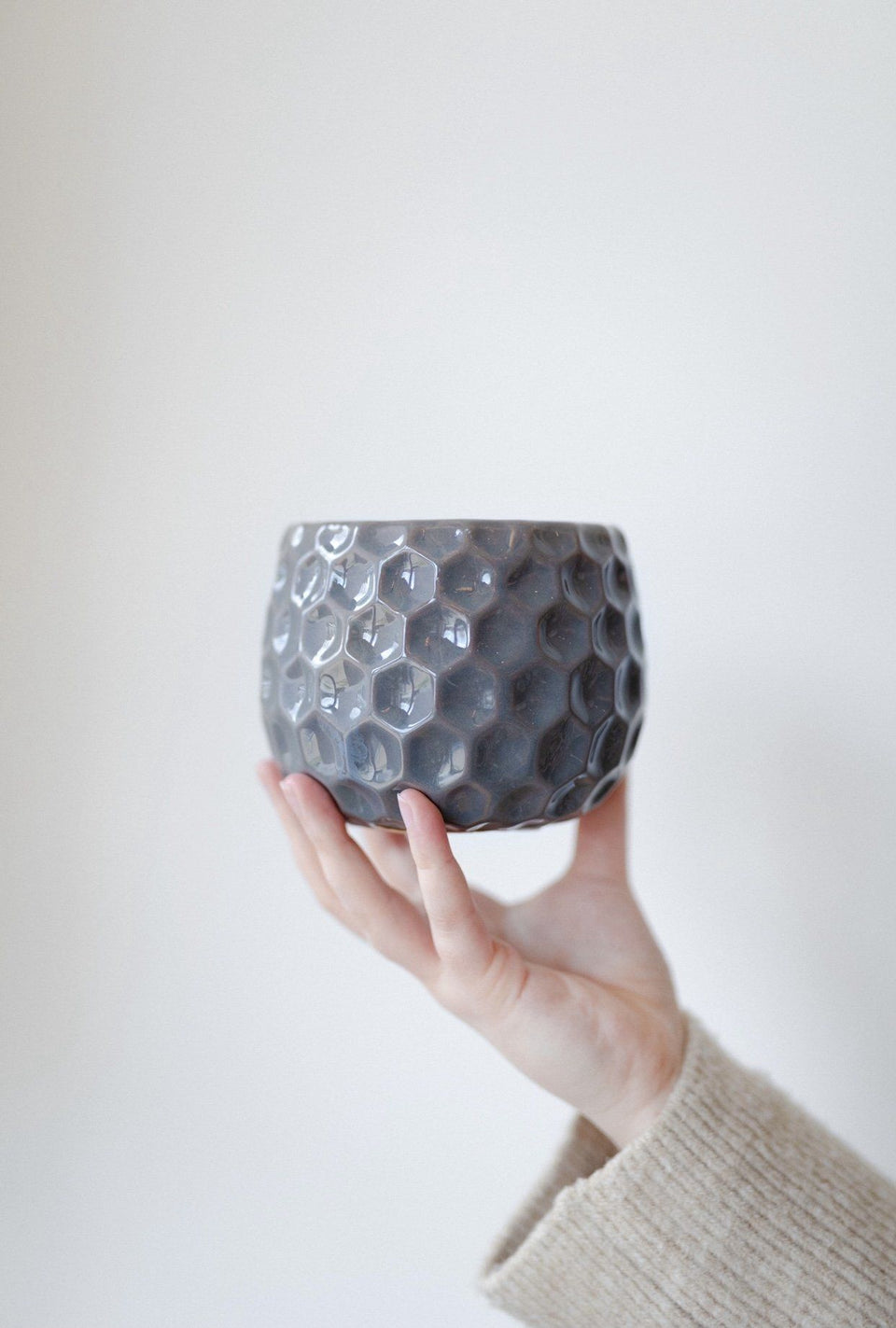 Gray Hexagon Patterned Ceramic Planter- Wide