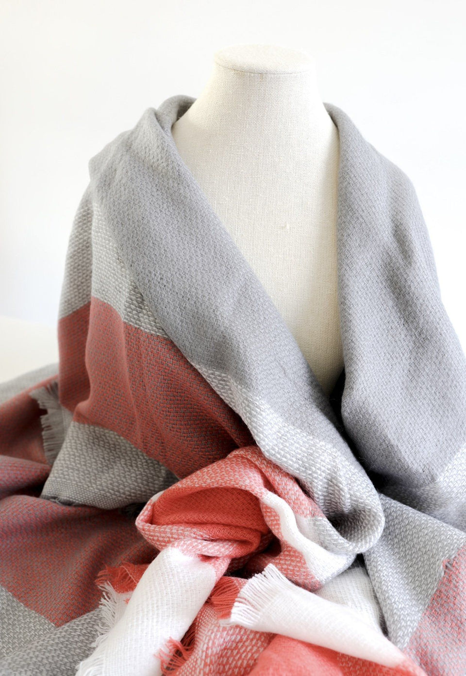 Salmon and Grey Plaid Blanket Scarf