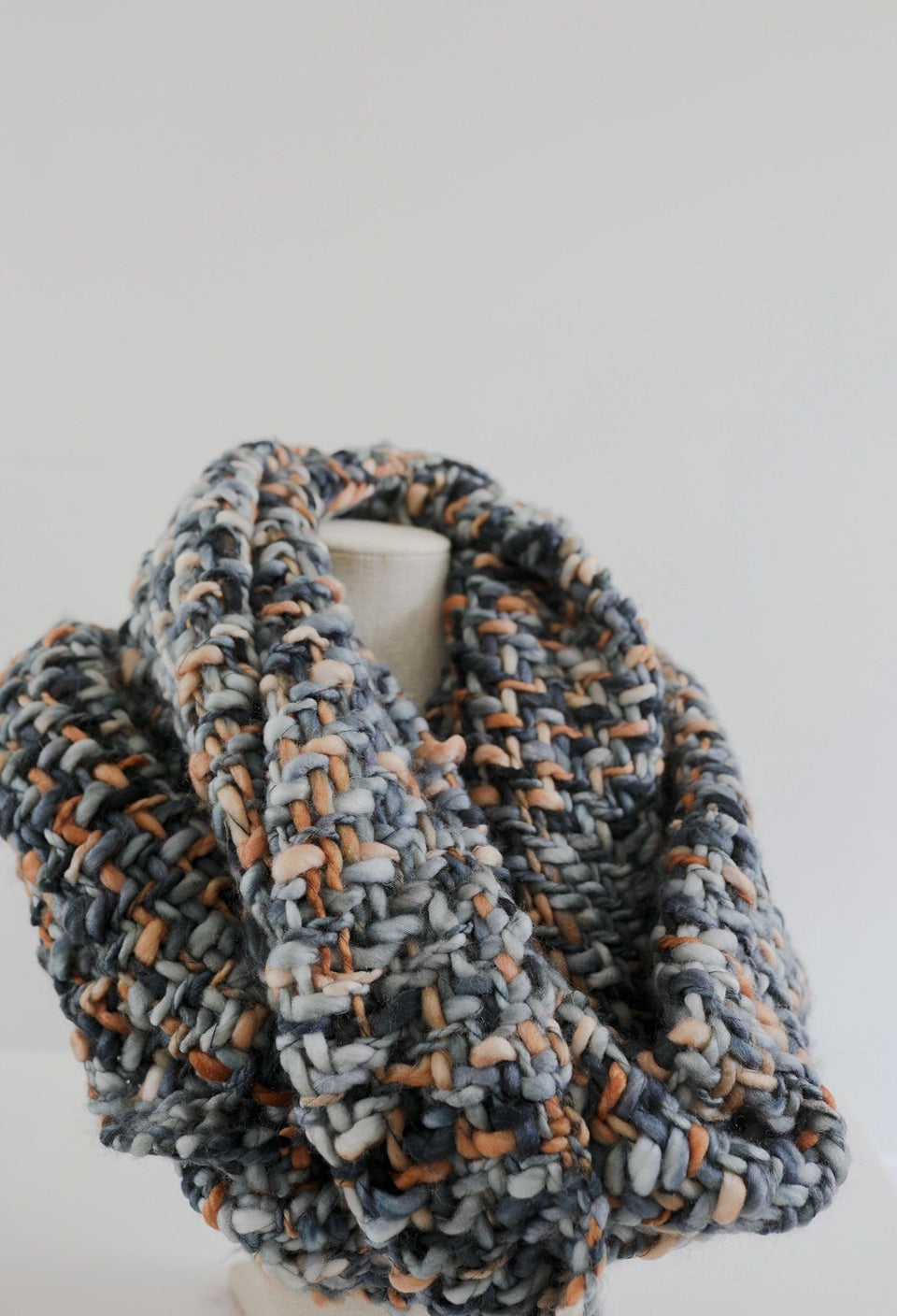 Colorful Woven Infinity Scarf - Blue & Orange