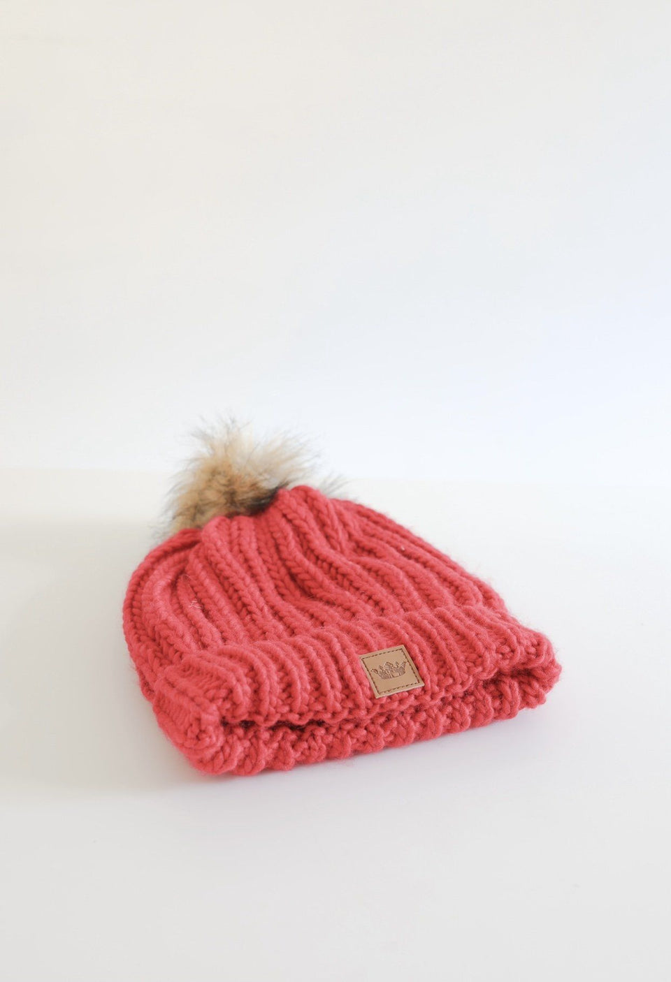 Fleece Lined Beanie with Pom - Red