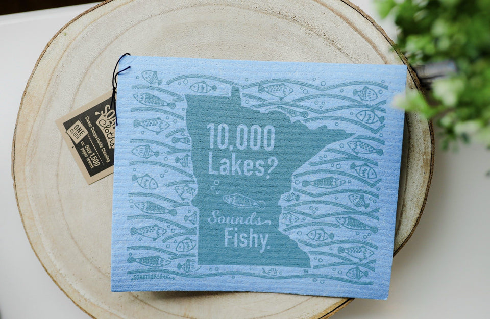 Minnesota 10000 Lakes Sounds Fishy Blue Dishcloth