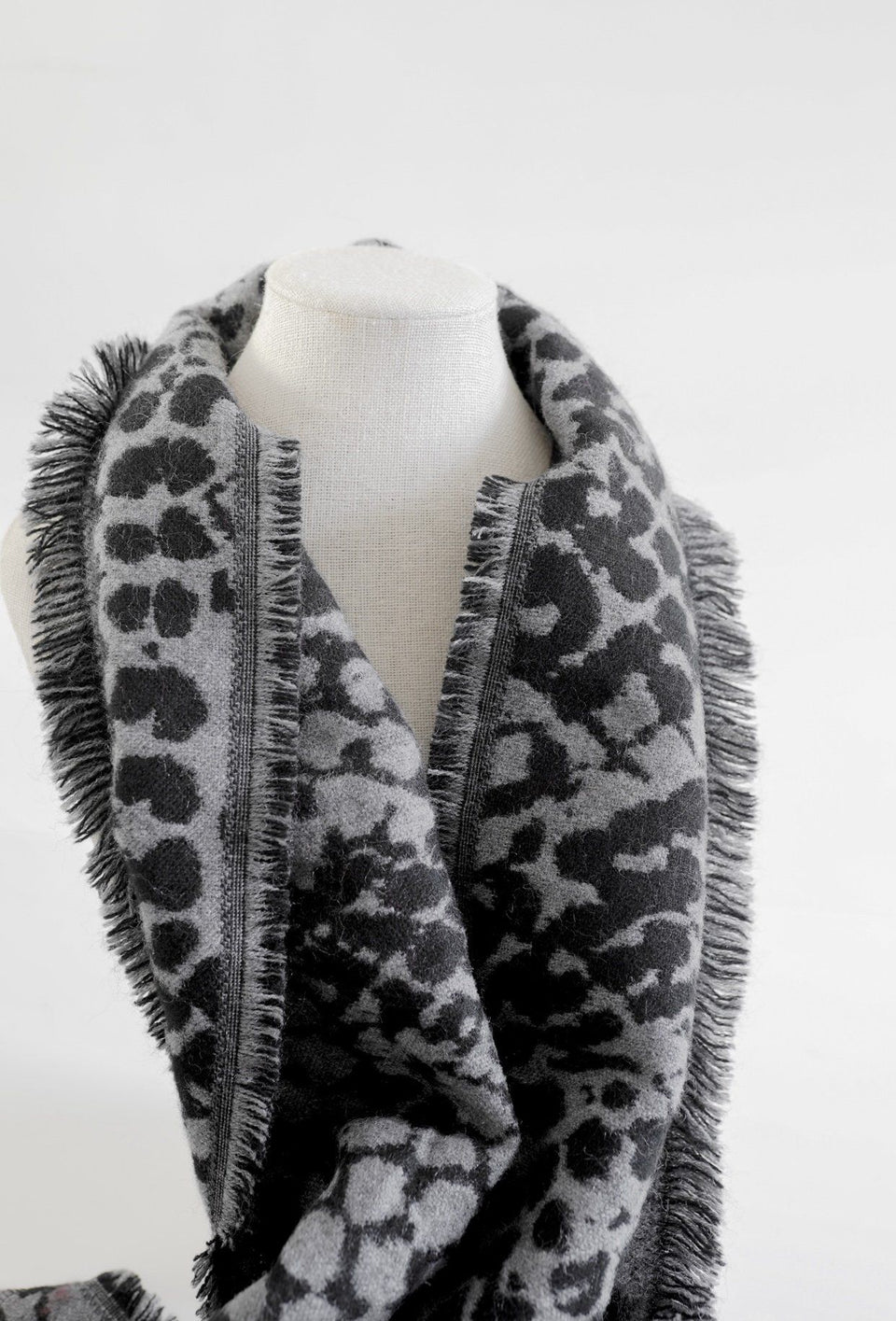 Black & White Animal Print Scarf with Fringe