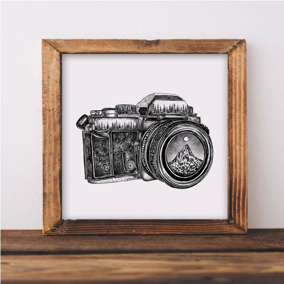Camera and Mountain Lens Art Print