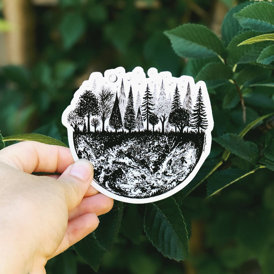 Earth Treescape Vinyl Sticker