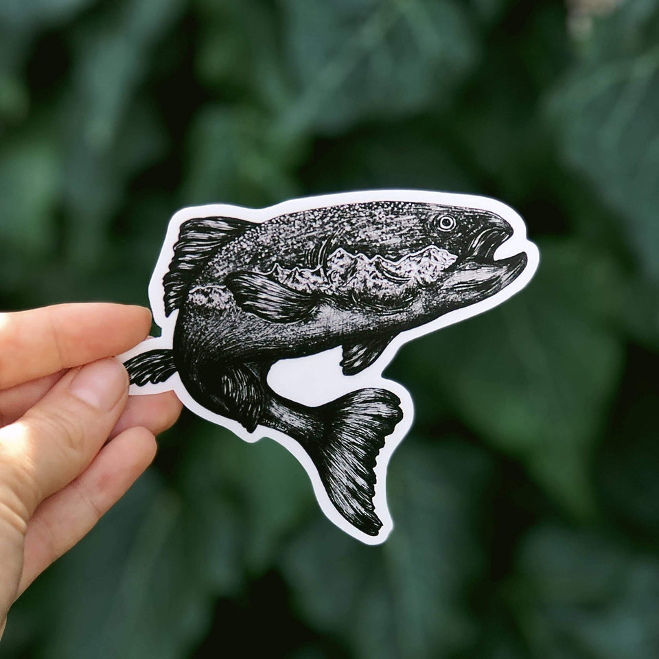 Jumping Salmon Vinyl Sticker