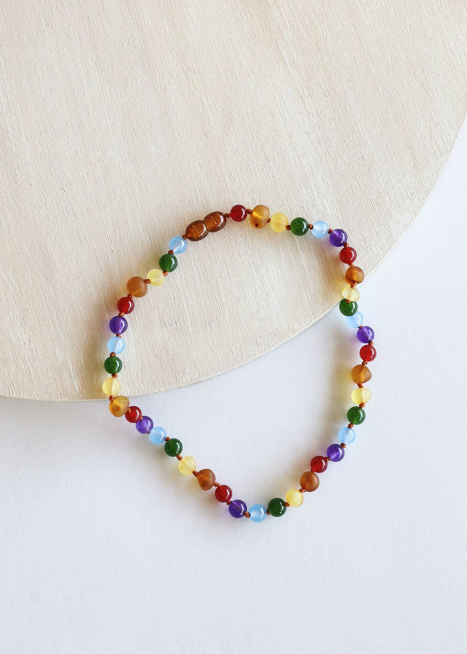 Kids: Raw Amber + Gemstone Rainbow Necklace