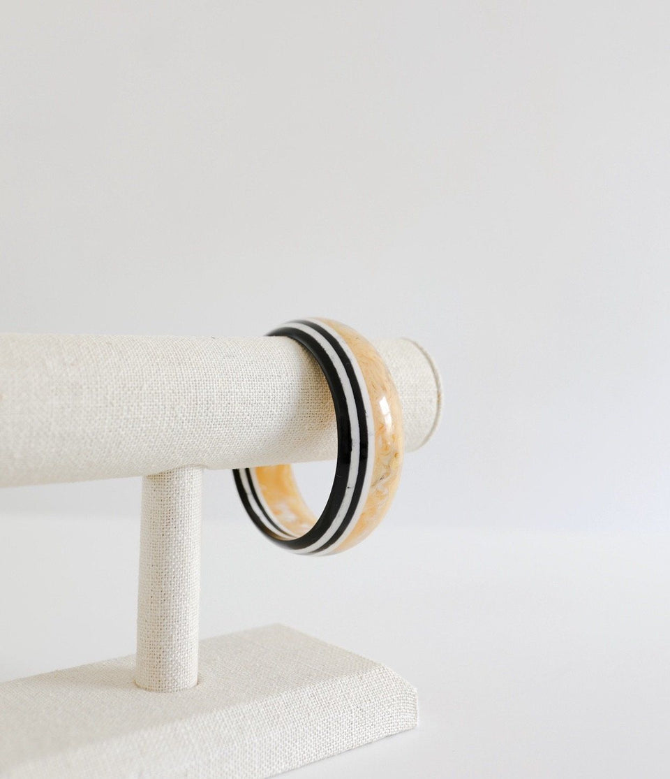 Stripped yellow marble bangle bracelet