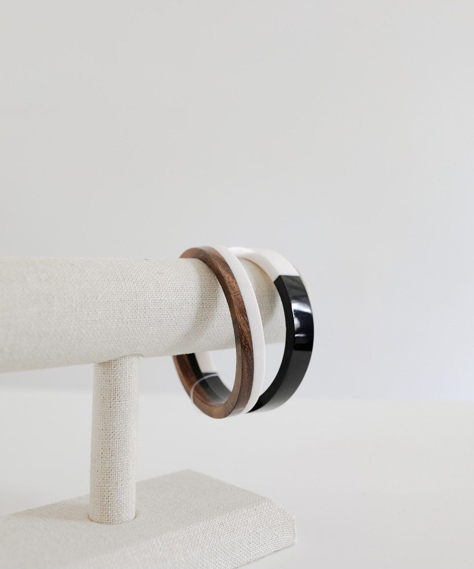 Black and white & black and wood bangle bracelet