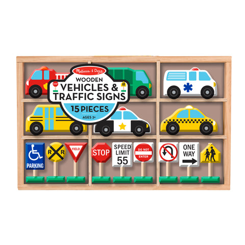 Wooden Vehicles & Traffic Signs Set