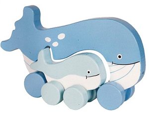 Jackrabbit Roll Poly Mommy and Baby Much toy Whale
