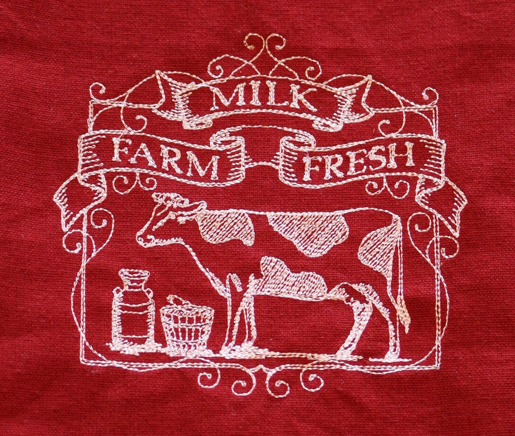 Red & White On The Farm Embroidered 100% Cotton Kitchen Towels