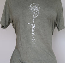 "Load image into Gallery viewer, ""Peace"" Blessed Calligraphy in Bloom Embroidered T-shirt"